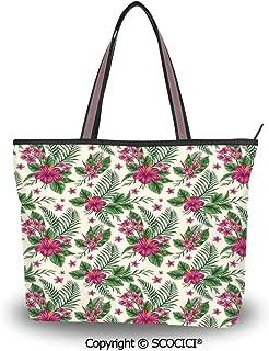 SCOCICI Tote Bag Oversized Shoulder Handbag Purse Watercolor Flower,Petite Tall