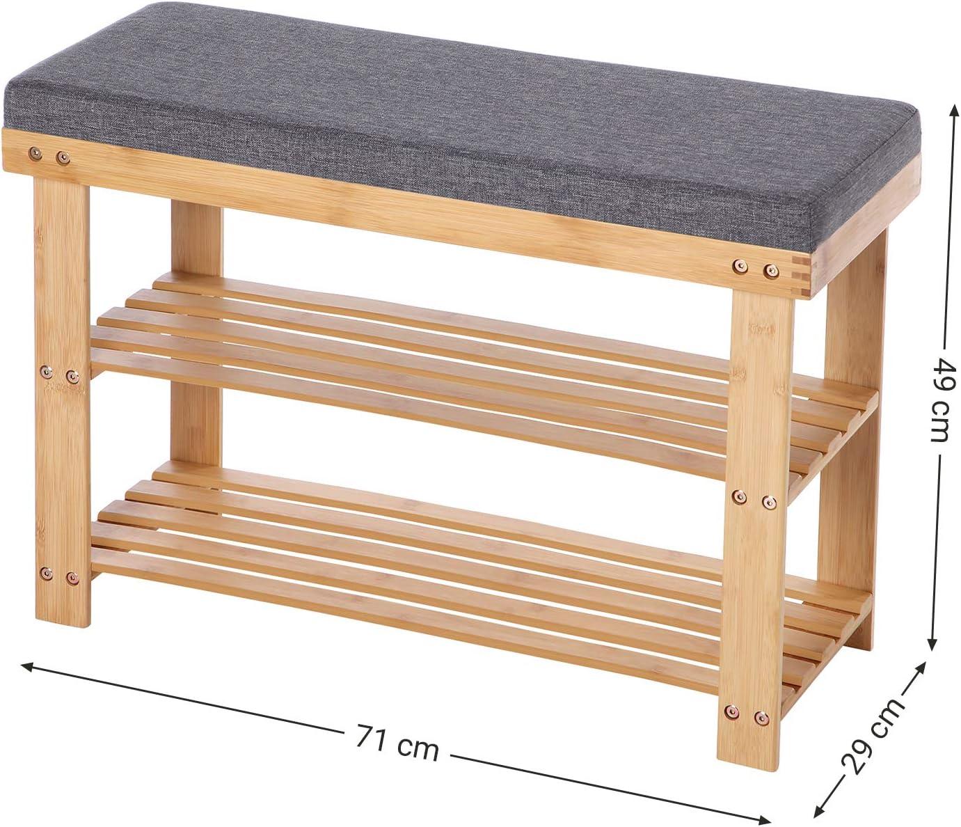 71 x 29 x 49 cm SONGMICS Panca Scarpiera in bamb/ù Soggiorno Portascarpe a 2 Ripiani Bianco e Grigio LBS604W01 Organizzatore per Scarpe Stabile per Corridoio Seduta Regge Fino a 150 kg