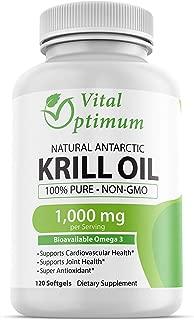 Vital Optimum Natural Antarctic Krill Oil 1000 mg with Omega-3s EPA, DHA, Astaxanthin, and Phospholipids 120 Softgels