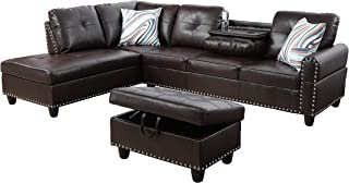 L-Shape Sectional Sofa with Chaise and Storage Ottoman 3-Piece for Living Room Furniture | Faux Leather Upholstery w/Drop-Down Table with Cup Holders | High Density Memory Foam Filled Cushions(Brown)