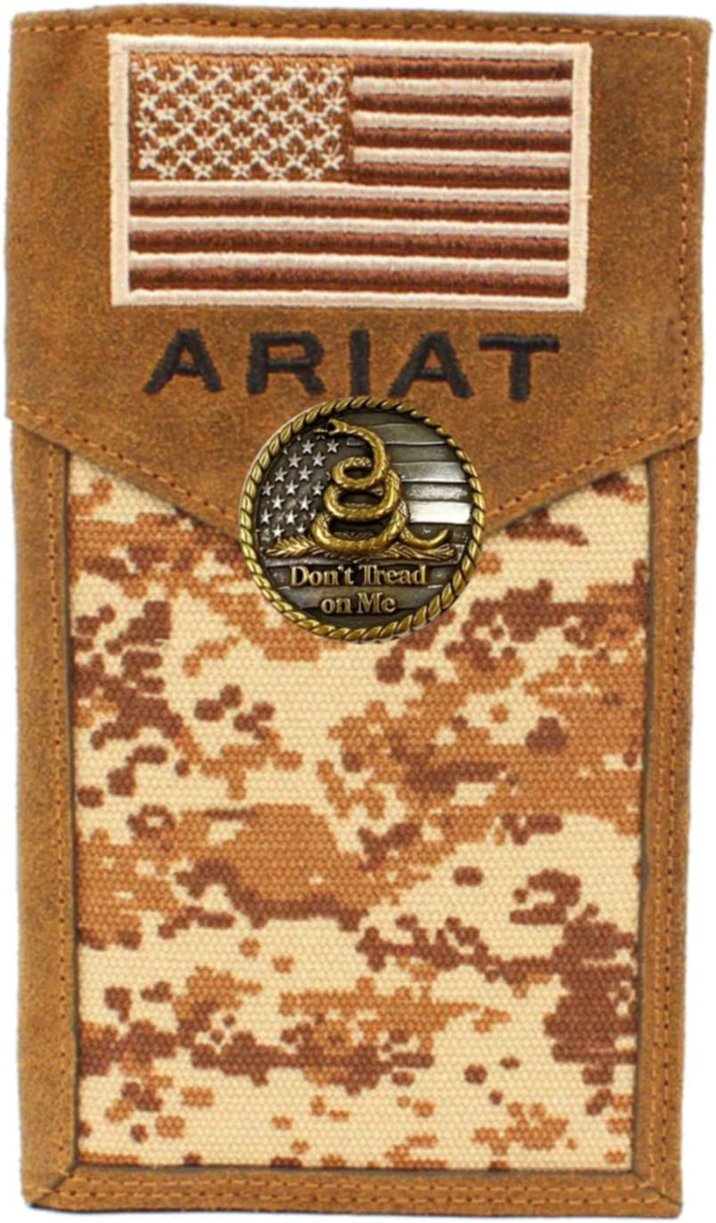 Custom Don't Tread On Me and American Flag Brown Digital Camo long wallet