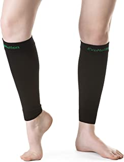 EvoMotion USA Made Men and Women 20-30 mmHg Firm Graduated Compression Calf Sleeves - Medical Grade Athletic Support Circulation & Recovery - Best for Sports Running Travel, 1 Pair (Medium, Black)