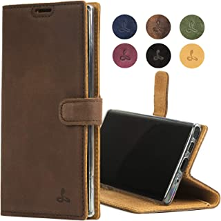 Samsung Galaxy Note 10 Case, Genuine Leather Wallet with Viewing Stand and Card Slots, Flip Cover Gift Boxed and Handmade in Europe for Samsung Galaxy Note 10 - (Brown)