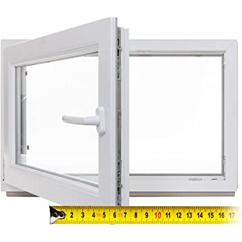 BxH: 85x45 cm DIN links wei/ß 60mm Profil 3-fach-Verglasung Fenster verschiedene Ma/ße Kellerfenster Kunststoff schneller Versand