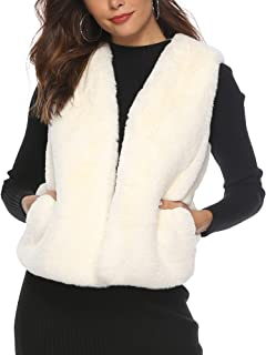 Women's Fashion Autumn and Winter Warm Short Faux Fur Vests Waistcoat Jacket with Pockets