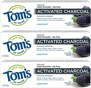 Tom's of Maine Activated Charcoal Toothpaste, Natural Toothpaste, Peppermint with Fluoride, 4.7 oz 3 Pack