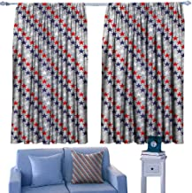 Mannwarehouse USA Sliding Curtains July Fourth Stars Citizen National Day Patriotic Western Salute to The Union Noise Reducing 63