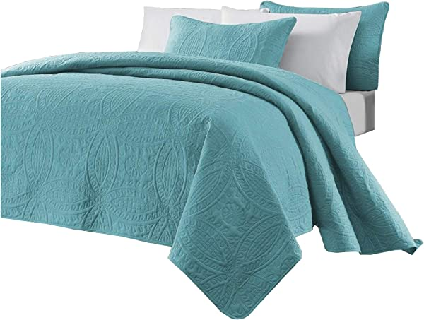 Chezmoi Collection Austin 3 Piece Oversized Bedspread Coverlet Set King Turquoise