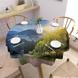 S-ANT Overlays Round Tablecloth Farmland,Contrasting Day and Night Collage View with Moon Sun Horizon Countryside Hillside,Green Blue Wedding Patio Dining Dorm D39