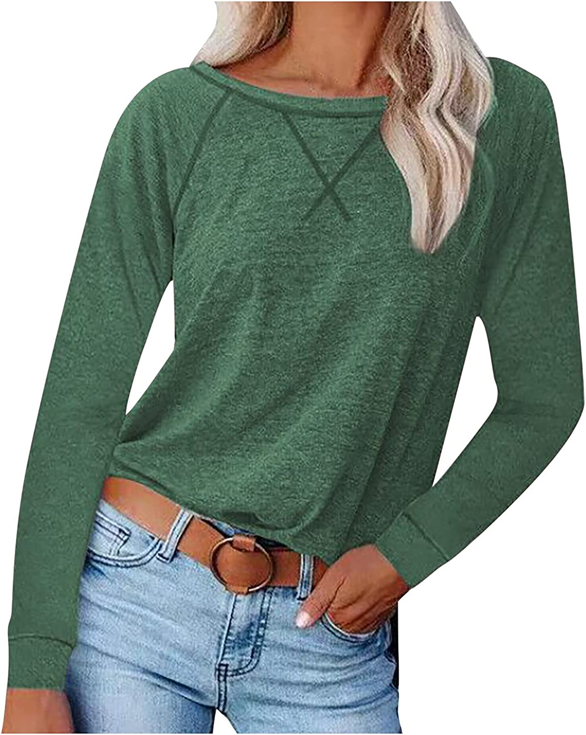 Women's Plain Long Sleeve Pullovers Tops, Womans Patchwork Tees Shirts and Blouses, Ladies Crew Neck Loose Fit Tshirts