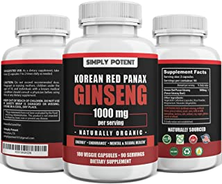 Simply Potent Panax Ginseng, Korean Red Ginseng 1000mg Capsules, Ginseng Extract Powder Supplement with 4-6% Ginsenosides ...