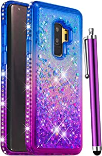 CAIYUNL for Galaxy S9 Plus Case,Luxury Glitter Bling Liquid Sparkle Quicksand Floating Shiny Women Girls Men Clear TPU Silicone Protective Cute Phone Cases Cover for Samsung Galaxy S9 Plus-Blue/Purple