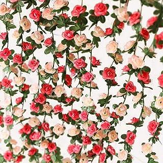 PARTY JOY 5 pcs Flower Garland Fake Rose Vine Artificial Flowers Hanging Rose Ivy Hanging Baskets Wedding Arch Garden Back...
