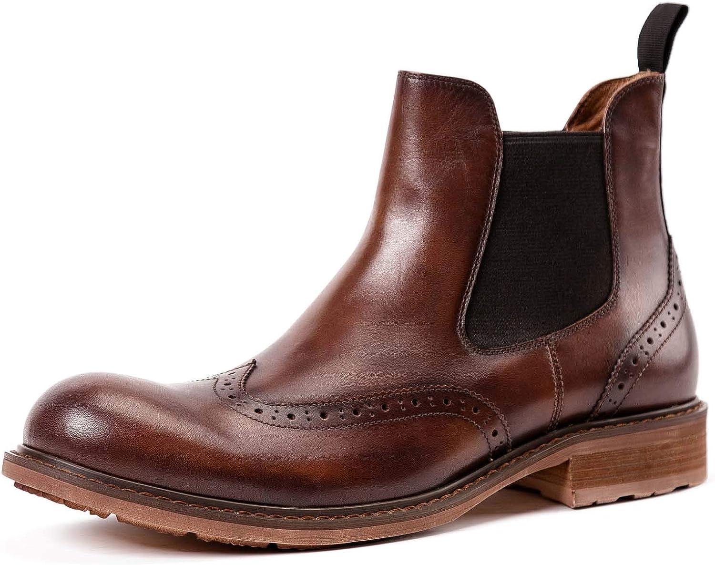 Chelsea Boots Vintage Men Martin Boots Leather Calfskin herrar skor