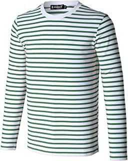 uxcell Men Casual Pullover Basic Crew Neck Long Sleeve Striped Tee T Shirt