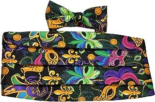 Mardi Gras Vibrant, Colorful Masquerade Mask Cummerbund and Bow Tie Set