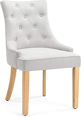 Shangri-La Set of 2 Studded French Provincial Fleur Dining Chairs (Grey Linen)