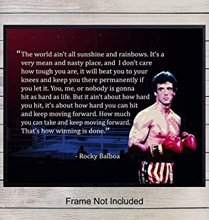 Rocky Balboa Motivational Quote Art Print - Inspirational Wall Art Poster Great for Home, Apartment, Gym, Studio or Office Decor - Inspiring Room Decorations or Gift for Entrepreneurs, Trainers - 8x10