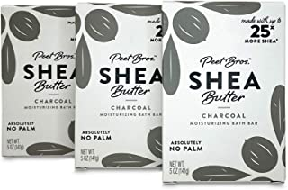 Peet Bros. Palm Oil-Free Shea Butter Bar Soap, 5 ounce - Charcoal (3 Pack)