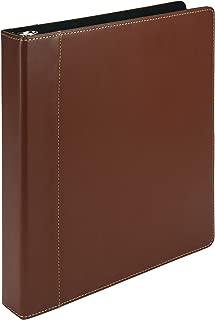 Samsill Contrast Stitch Leather 3 Ring Binder/Portfolio/Organizer/Planner, 3 Ring Binder 1 Inch, Holds 200 Sheets (8.5 x 11), Tan