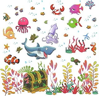Fish Wall Decals, H2MTOOL Removable Ocean Animal Under The Sea World Stickers for Kids Rooms Nursery Decor (Fish)