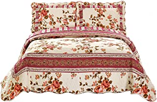 Fancy Collection 3 Pc Bedspread Bed Cover Beige Pink Floral King/California King Over size 118