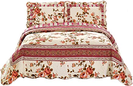 Fancy Collection 2 Pc Bedspread Bed Cover Beige Pink Floral Twin/twin Xl