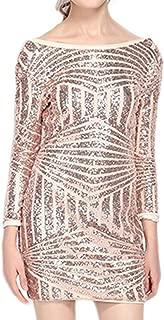 Womens Sparkly Sequin Long Sleeve Backless Bodycon Mini Club Dress