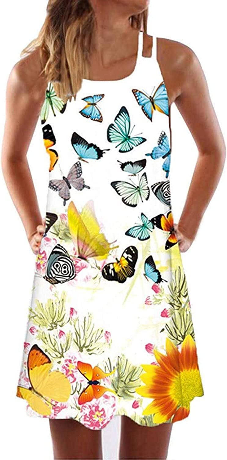 RAXYQ Women's Max 66% OFF Dresses Casual Summer Sales of SALE items from new works Loose Floral Sleeveles Print