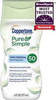 Coppertone Pure & Simple SPF 50 Sunscreen Lotion, Water Resistant, Hypoallergenic, Dermatologically Tested, Plus 100% Natural Botanicals, Broad Spectrum UVA/UVB Protection,White, 6 Ounce