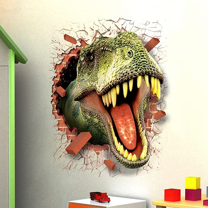 Aibote 3D Dinosaur Wall Decal Mural Home Window Ceiling Decor Removable Stickers Decorations Wallpaper For Boys Girls Room Kids Bedroom Floor Walls Living Room 70x50CM