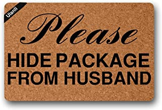 Please Hide Package from Husband Door Mat Indoor/Outdoor Rubber Non Slip Doormat for Patio Front Door23.6 * 15.7