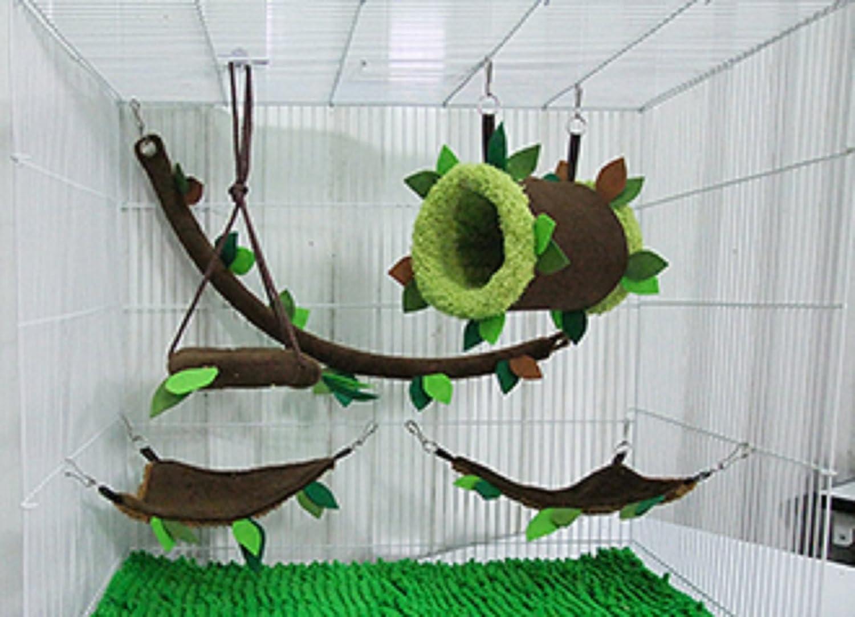 5 Piece KPS Cute Sugar Glider Hamster Squirrel Small Pet Cage Set Forest Pattern, Polar Bear's Republic