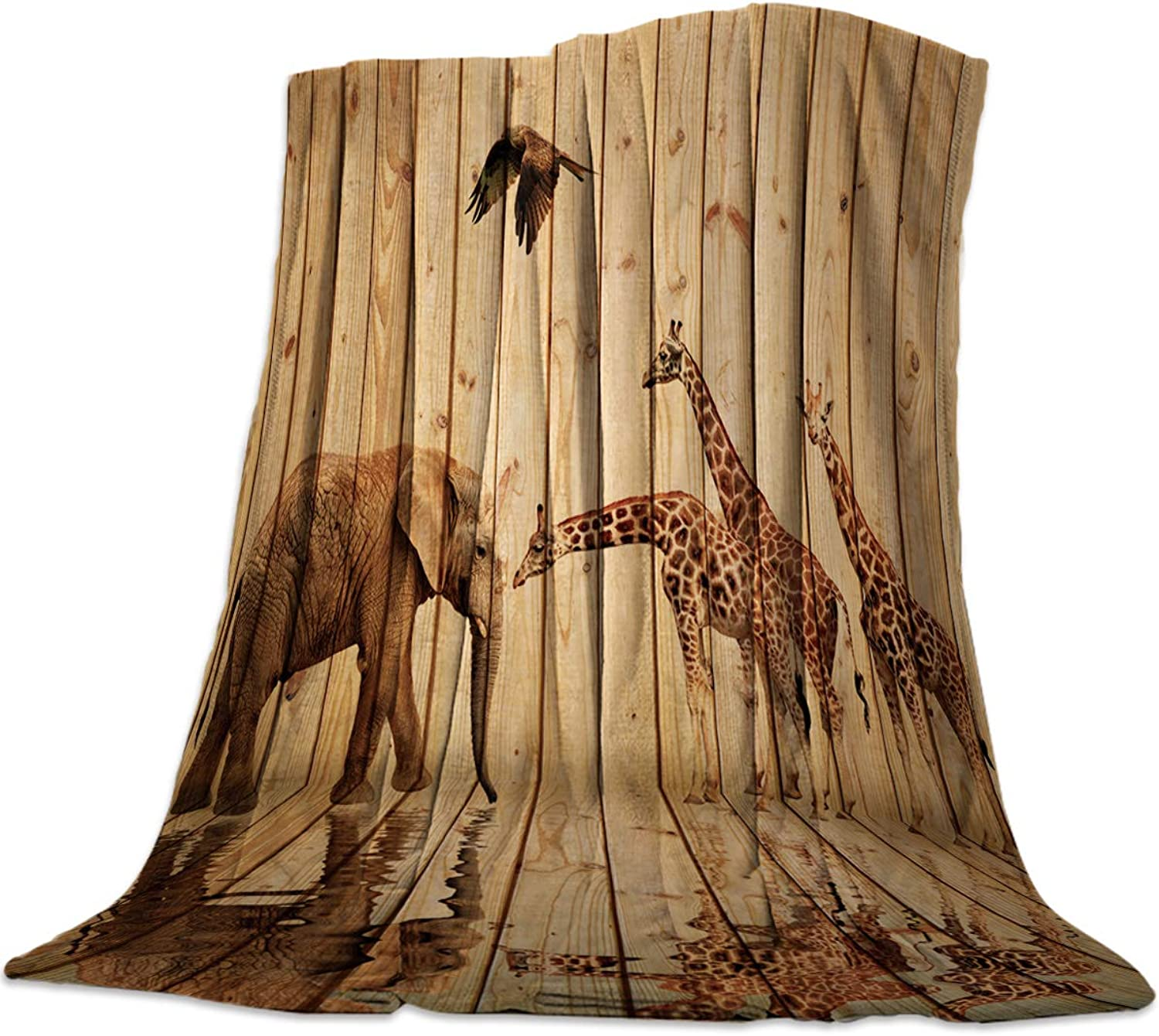 39x49 Inch Flannel Fleece Bed Blanket Soft Throw-Blankets for Girls Boys,Retro Giraffe Elephant Animal Pattern on The Wood,Cozy Lightweight Blankets for Bedroom Living Room Sofa Couch