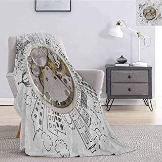 Tr.G Clock Luxury Special Grade Blanket an Alarm Clock with Clouds and Buildings Around It in Vintage Style Pattern Design Multi-Purpose use for Sofas etc. W70 x L90 Inch Pale Grey