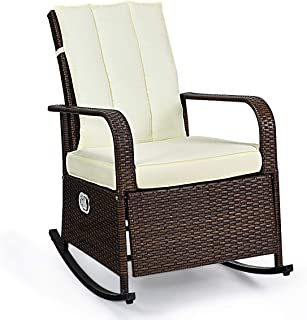 Tangkula AM2332HM Outdoor Wicker Rocking, Modern Cushioned Seating and Back, Auto Adjustable Rattan Reclining Chair, Space Saving Design, Garden Lawn Balcony Backyard Patio Fu, Brown