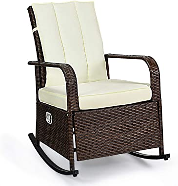 Tangkula Outdoor Wicker Rocking, Modern Cushioned Seating and Back, Auto Adjustable Rattan Reclining Chair, Space Saving Desi