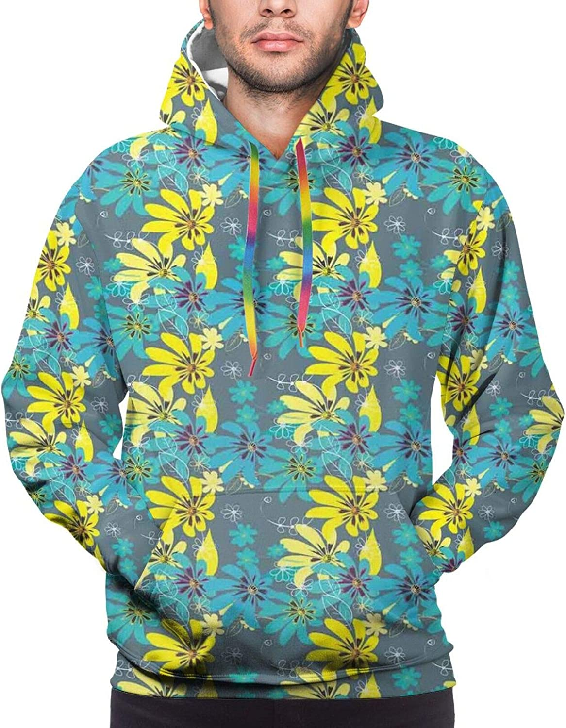 Men's Hoodies Sweatshirts,Abstract Flowers Round Brush Stroke Effect Floral Hand Drawn Style