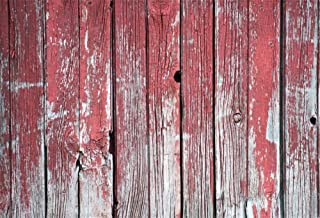 LFEEY 10x8ft Vinyl Photography Background an Old Worn Barn Antique Wooden Fence with Chipped Red Paint Christmas Wood Texture Countryside Backdrop Children Photo Portrait Shoot Video Prop
