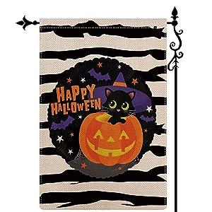 Coskaka Happy Halloween Witch Cat Garden Flag Vertical Double Sided,Pumpkin Bat Black White Irregular Stripes Buffalo Check Plaid Rustic Farmland Burlap Yard Lawn Outdoor Decor 12.5x18 Inch