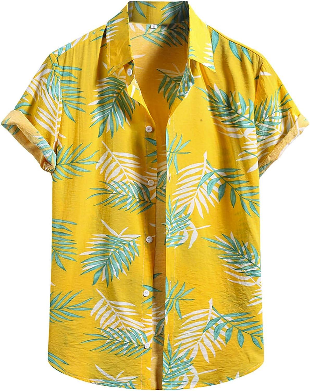 Men's Floral Hawaiian Printed Shirts Casual Loose Button Down Short Sleeve Cotton Linen Shirt Summer Beach Shirt
