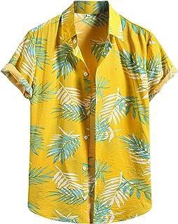 Camisas Hawaianas para Hombres Camisas de Manga Corta Estampadas de Algodón Y Lino de Moda Camisas Casuales con Botones To...