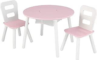 KidKraft Round Table and 2 Chair Set, White/Pink (Renewed)