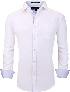 Mens Dress Shirts Wrinkle Free Regular Fit Stretch Bamboo Men Shirt