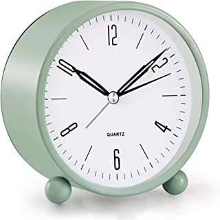 Analog Alarm Clock, 4 inch Super Silent Non Ticking Small Clock with Night Light, Battery Operated, Simply Design, for Bedroon, Bedside, Desk, (Green)