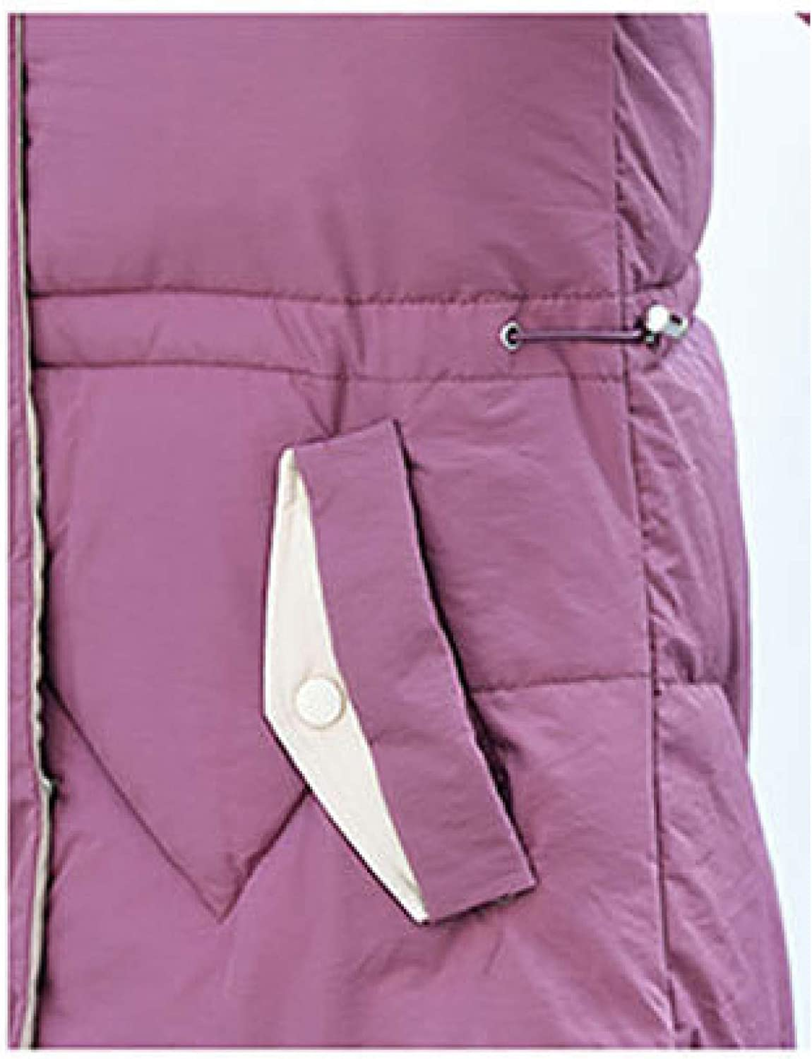 Women's Mid-Length Cotton Padded Jacket with Faux Fur Trim Hood Quilted Packable Down Jacket