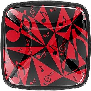 Paquet de 4 boutons d'armoire de cuisine, boutons pour tiroirs de commode Notes noires et rouges Tire les poignées de porte