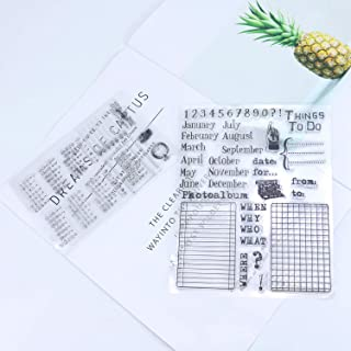 Monrocco Set of 2 Silicone Clear Stamps Calendar Planner Rubber Photopolymer Stamps for Card Making Scrapbooking