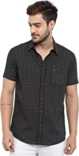 Mufti Men's Checkered Slim Fit Casual Shirt (MFS-9602_Off White_5XL)