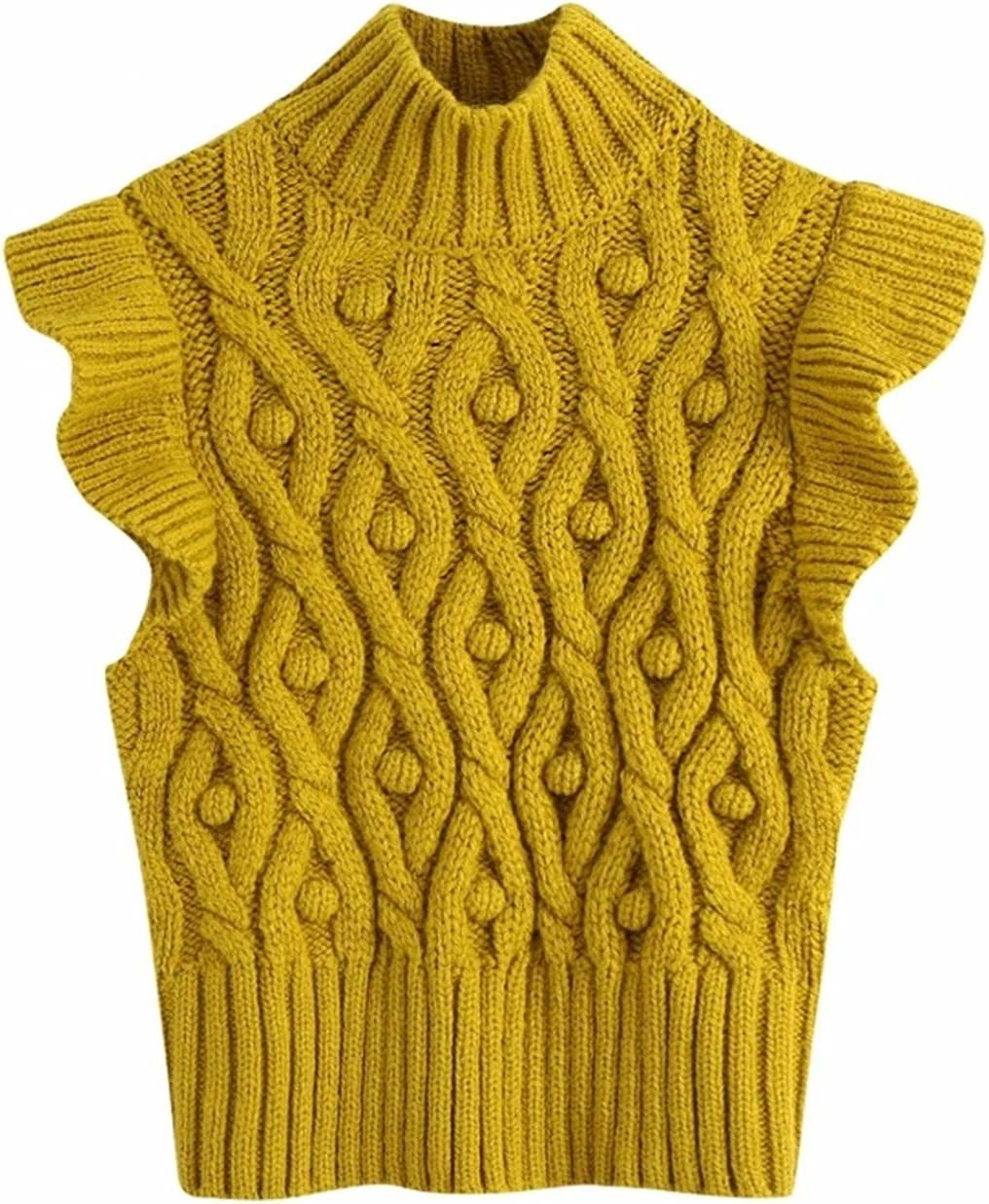 PJRYC Ladies Fashion Knitted Sweater Ladies Lace Sleeveless Casual Slim Vest Pullover (Color : As pic S420BB, Size : Medium)